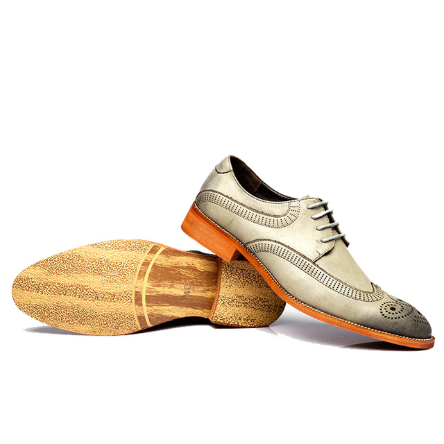 NPEZKGC British Style Brogue Men Formal Shoe Pointed Toe Lace Up Leather Dress Business Shoes Flats Oxford Shoes For Men Oxfords