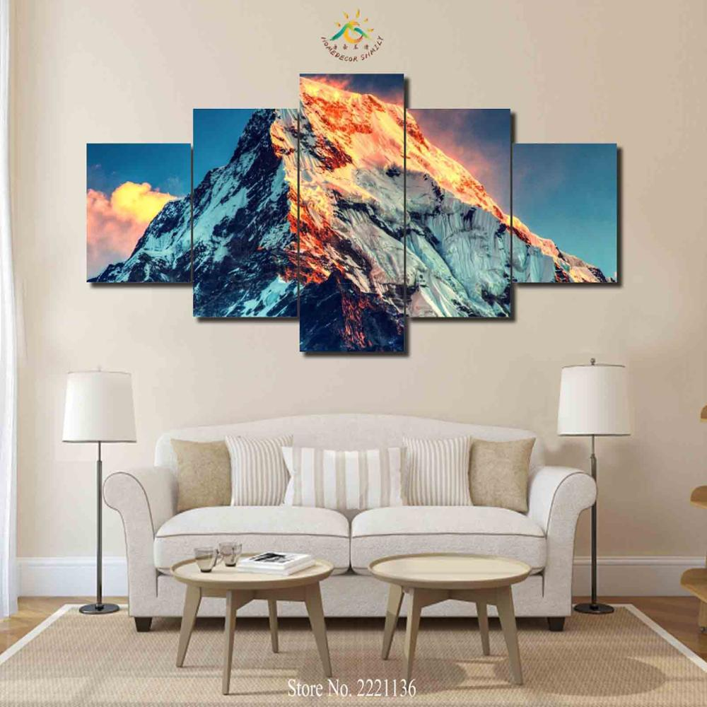 3-4-5 Pieces Mount Everest Pictures Modern Home Decor Canvas Print on Wall Art HD Painting