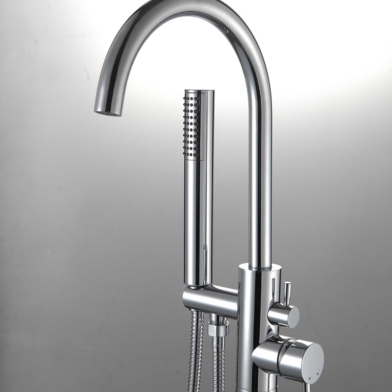 Chrome Floor Mounted Bathroom Brass Bathtub Faucet Single Handle ...