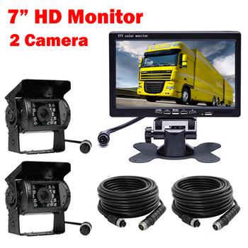 7 cal 4 Pin monitor HD 12 V-24 V samochodów ciężarówka autobus Parking widok z tyłu wodoodporny Night vision zestaw kamer 2 x System kamer tanie i dobre opinie Zapasowe kamery do auta Przewodowa Ze stopu aluminium 10 m Szkło WHACANG