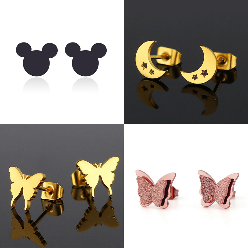 Jisensp Cute Stainless Steel Stud Earrings for Women Everyday Jewelry Gift Tiny Star Moon Earrings pendientes mujer moda 2018