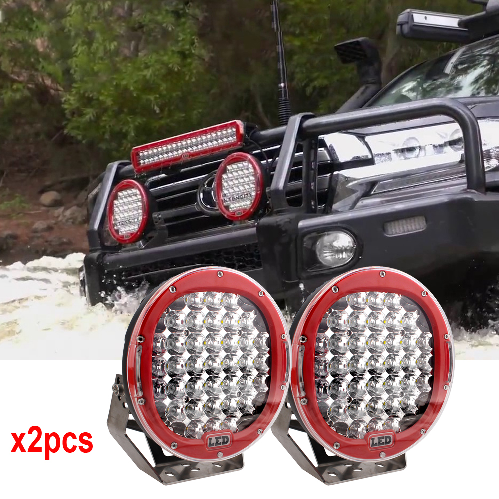9inch Red Black round led driving light 12V 24V led off road light 185w led work light for SUV ATV UTV 4WD 4X4 x 2pcs freeship цена и фото