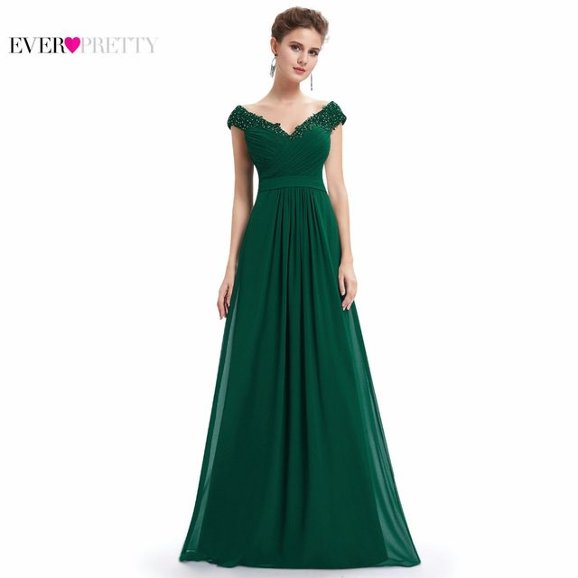 4bce78218f Ever Pretty Evening Dresses EP08633 Women Elegant Sexy Beading Deep V neck  Long Evening Gown 2018 Chiffon Dress robe de soiree