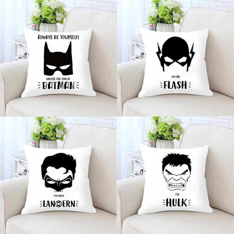 Super Heroes Cartoon Anime Pillow Cushion Black White Superhero  Batman Mask Movie Poster Boy Kid Room Home Decor Birthday Gift