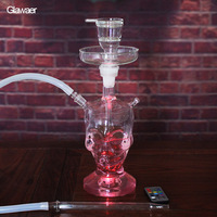 Skull Design 82004 New Glass Hookah chicha Narguile H38cm smoking water pipe With Hookah Bowl and LED light