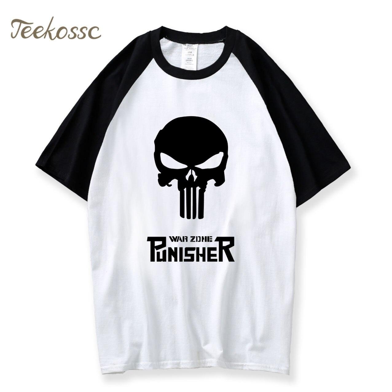 Superman T Shirt Skull Hip Hop Tshirt 2018 Summer Hipster Raglan Tshirts Men 100% Cotton Mens Punk Black Korean Fashion Clothing