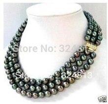 3 row 7-8MM Black akoya Pearl Necklace