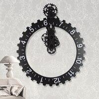Fashion mute wall stickers wall clock personalized vintage mechanical gear clock modern design
