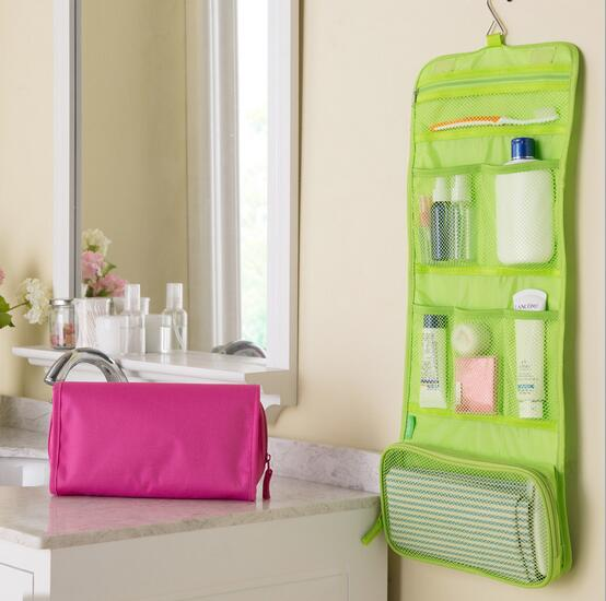 Portable Hanging Organizer Bag Foldable Cosmetic Makeup Case