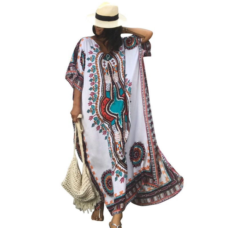 Female White ethnic print fabric moroccan kaftan women beach dress style2017 vintage boho summer maxi dresses for womens Q42217