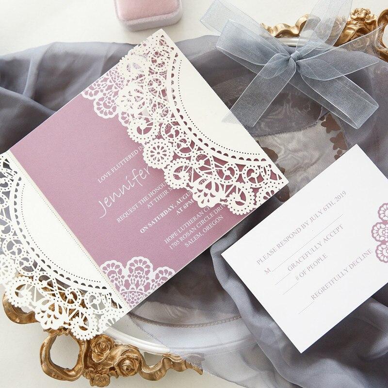 Blank Printable Wedding Invitations: 50 Set Design White Flower Lace Laser Wedding Invitations