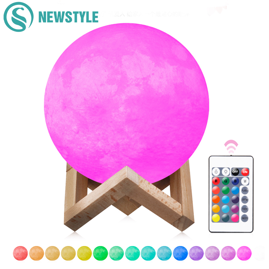 2 Color/16 Colors 3D Print Moon Lamp Rechargeable LED Night Light RGB Color Change Touch Switch Bedroom 3D Moon Light Home Decor