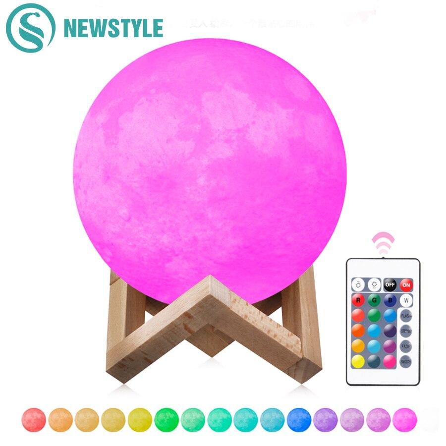 2 Color/16 Colors 3D Print Moon Lamp Rec