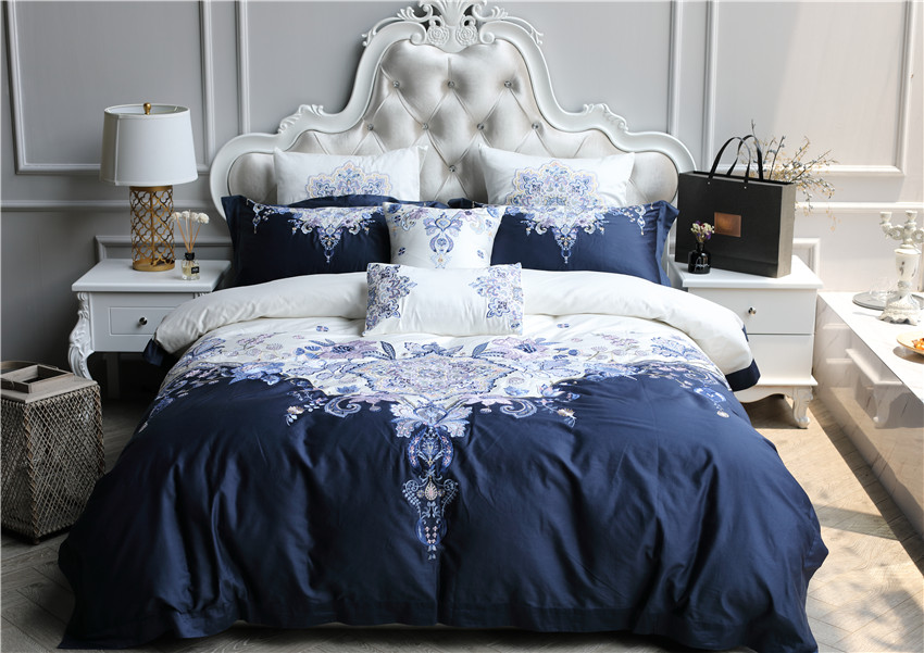 100S Egyptian cotton Luxury Bedding Set 4/7Pcs White Blue Queen King Boho Duvet/Quilt