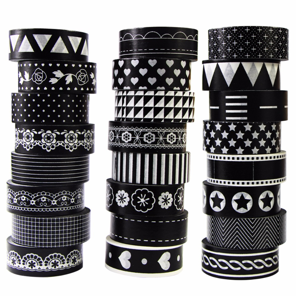 1 Roll Washi Tape Paper Masking Tapes Patterns Designs Label Adhesive Tape DIY Scrapbook Sticker Black White,15mm*8m