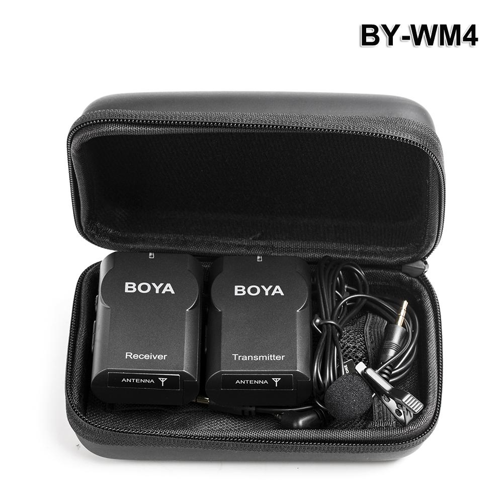 BY-WM4 Wireless Lavalier Microphone System For IOS Android Devices For DSLR camera, Camcorder, PC boya by wm4 professional wireless microphone system lavalier lapel dslr camera camcorder mic for iphone for android cell phone