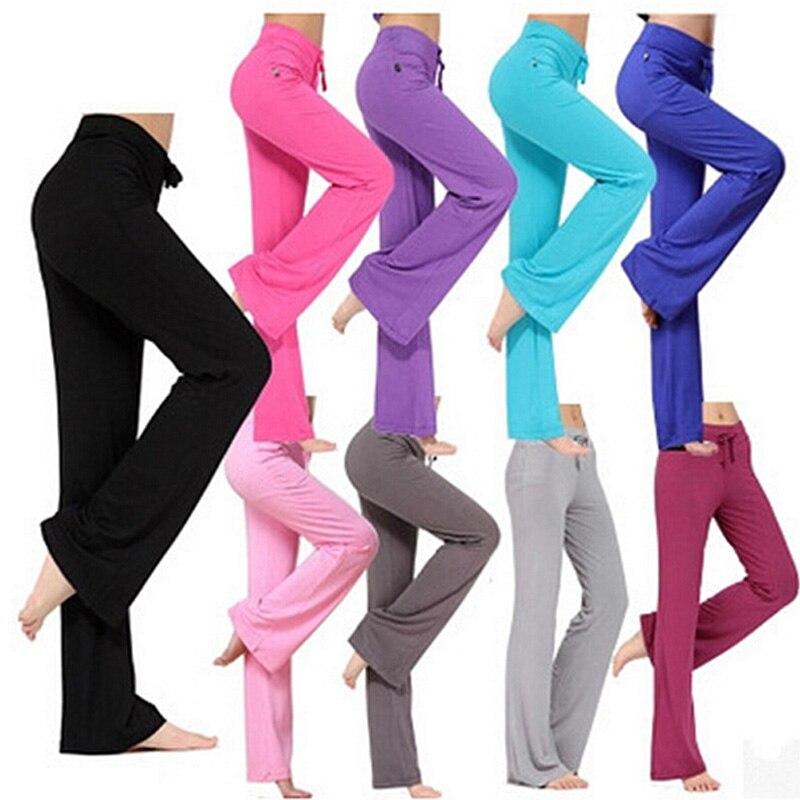 Femmes Yoga Pantalon Lâche Gym Workout Formation Longues Défaites Pantalon Élastique Femelle Sport Exercice Fitness Course Jogging Pantalon