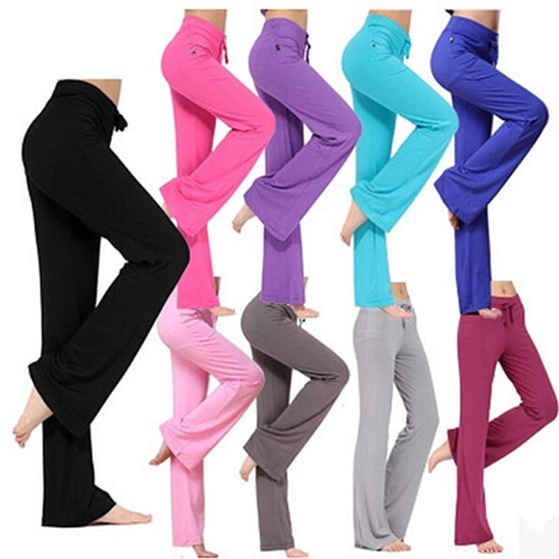 Multicolor Women Sports Pants Latin Dance Trousers High Waist Stretch Women Modal Wide Leg Pants Loose Long Trousers