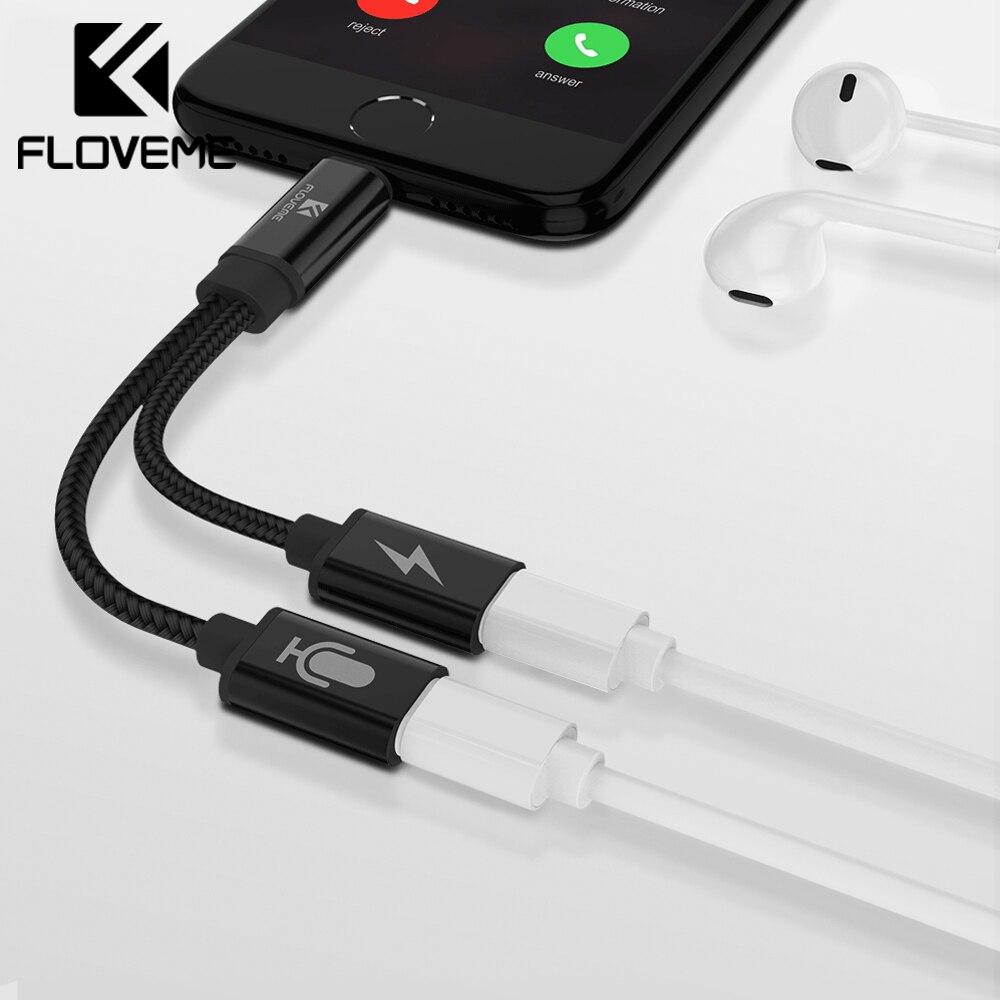 FLOVEME 2 in 1 Per I Fulmini per Audio Converter Per iPhone 7 8 Più del Divisore del Trasduttore Auricolare Martinetti Aux Cavo USB adattatore Per il iphone 7 8