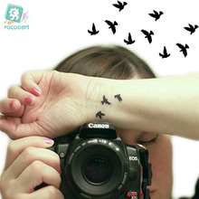 Rocooart HC1073 Women Sexy Finger Wrist Flash Fake Tattoo Stickers Liberty Small Birds Fly Waterproof Temporary