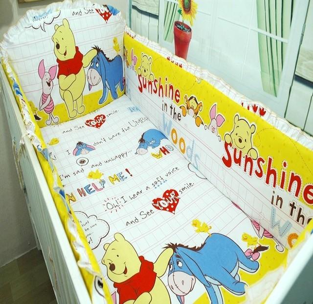 Promoção! 6 PCS Winnie 100% algodão Unisex recém-nascido conjuntos de cama berço berço bebês, Pára choques para berço, ( Bumpers + folha + fronha )
