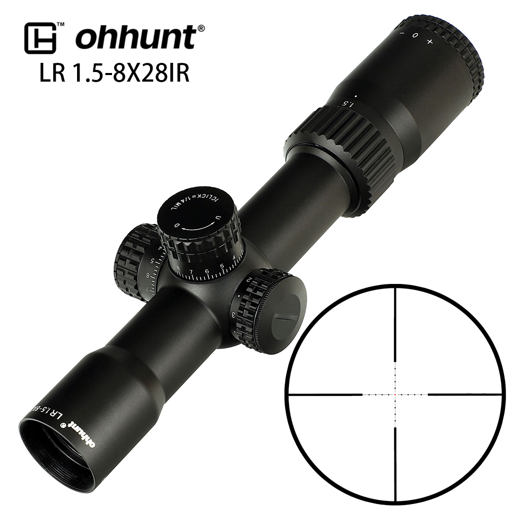 Tactical Ohhunt LR 1.5-8X28 IR Compact Hunting Scope Mil Dot Glass Etched Reticle Red Illumination Turrets Lock Reset Riflescope