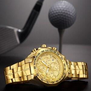 Image 3 - レロジオ masculino 2019 男性はトップブランドの高級 wwoor クロノグラフビッグダイヤルゴールド男性腕時計スポーツゴールデンメンズ腕時計 2019