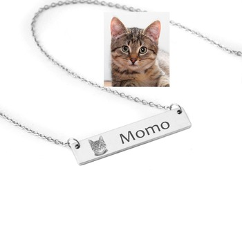 Personalized Silver Bar Pet Name Necklace Custom Portrait Your Photo Lover Gift Cat
