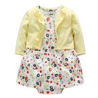 2pcs Set Baby Romper Dresses Cotton Long Sleeves Shirt Tops Short Sleeve Flower Toddler Girls Clothes