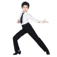 Boys Modern Ballroom Latin Dance Pants Salsa Tango Rumba Samba Cha Cha Professional Black Dance Trousers For Men