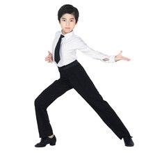 Chłopcy nowoczesna sala balowa łacińskie spodnie do tańca Salsa Tango Rumba Samba Cha Cha profesjonalne czarne spodnie do tańca dla mężczyzn