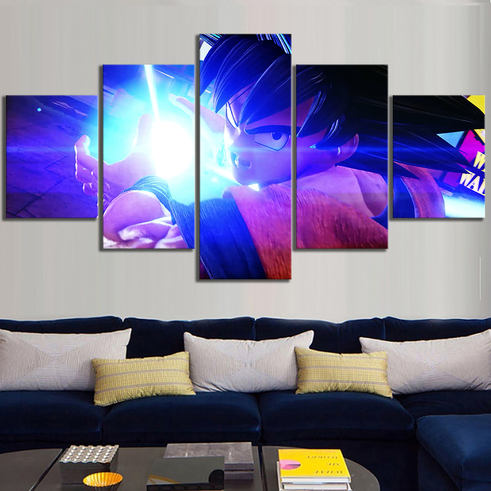 5 Piece Goku Kamehameha Dragon Ball Z Jump Force Video Games Poster Canvas Art Wall Paintings for Home Decor 1