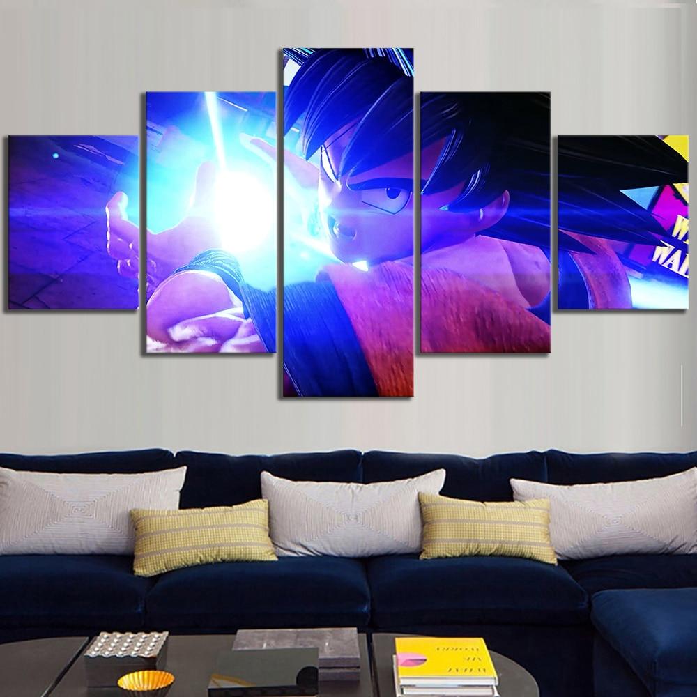 5 Piece Goku Kamehameha Dragon Ball Z Jump Force Video Games Poster Canvas Art Wall Paintings for Home Decor 1