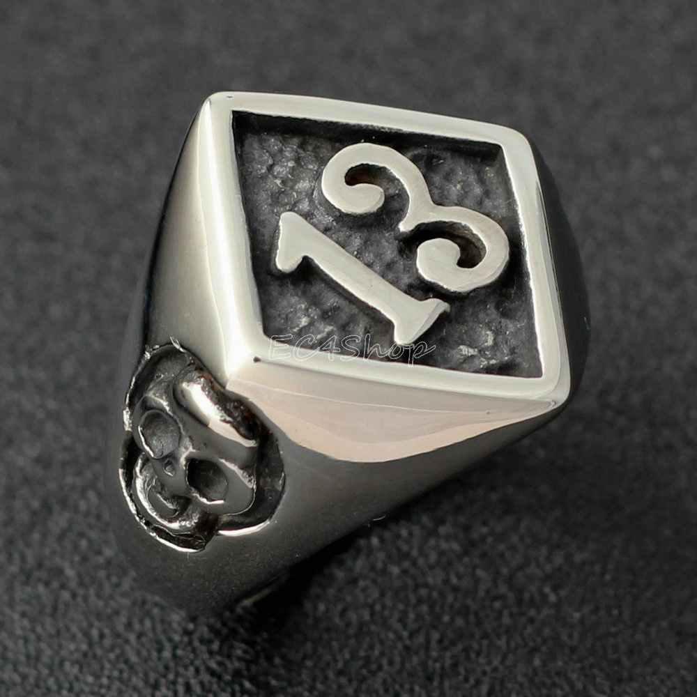 316L Stainless Steel Men Fashion Gothic Bone Skull Biker Ring Jewelry Size 7-13