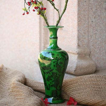 Antique Peacock Green Glaze Jingdezhen Ceramic Vase Flower Vase Handmade furnishing articles Sitting room bedroom decoration