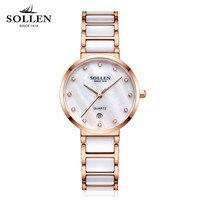 Новые женские со стразами Часы люксовый бренд императивом модные Керамика часы Для женщин браслет из нержавеющей стали Кварцевые наручные