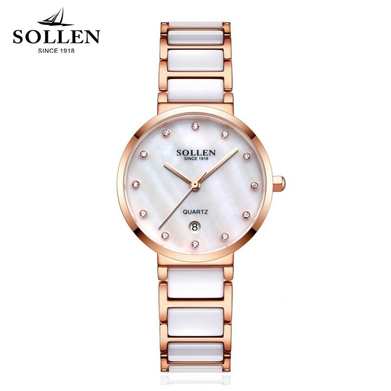 все цены на New Ladies Rhinestone Watches luxury Brand SOLLEN Fashion Ceramic Watch Women Stainless steel bracelet quartz WristWatch relogio