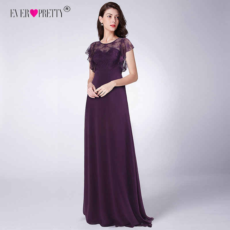 b8cf20a9ce Ever Pretty Long Prom Dresses Dark Purple Chiffon Floral Lace Party Gowns  Illusion vestido formatura A-Line Ruffles Dress Prom