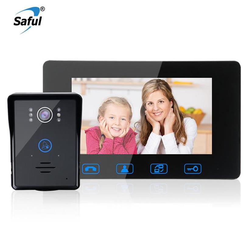 Saful Wired Video Door Phone Touch Key 7'' TFT LCD Waterproof Night Vision Home Electric Unlock Function Door Video Intercom