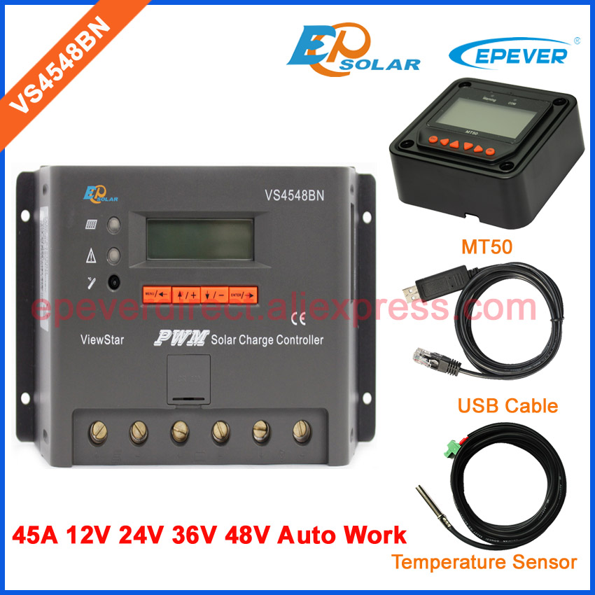 controller charger solar panels 45A regulator PWM system VS4548BN EP ViewStar series USB cable&MT50 Meter 12V/48V/36V/24V work pwm new solar controller viewstar series vs2024bn with usb communication cable 20a 12v 24v wifi connect app box adapter