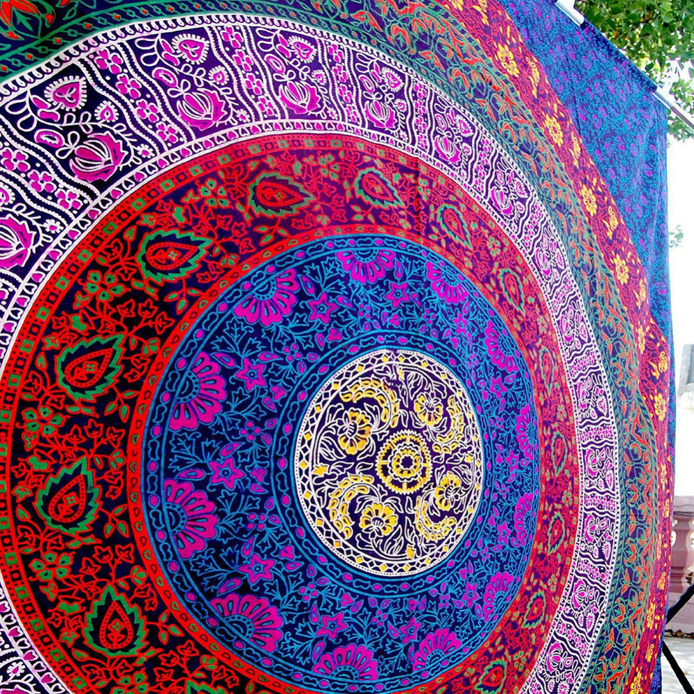 Image 2 - CAMMITEVER 3 Sizes Mandala Indian Bohemian Tapestry Wall Hanging Beach Towel Polyester Thin Blanket Yoga Shawl Mat-in Blankets from Home & Garden