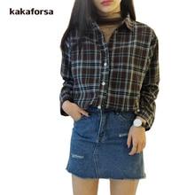 Kakaforsa Women Vintage Cotton Plaid Blouse Shirt Long Sleeve Turn-down Collar Blouses Tops Spring Summer Autumn Loose Shirts