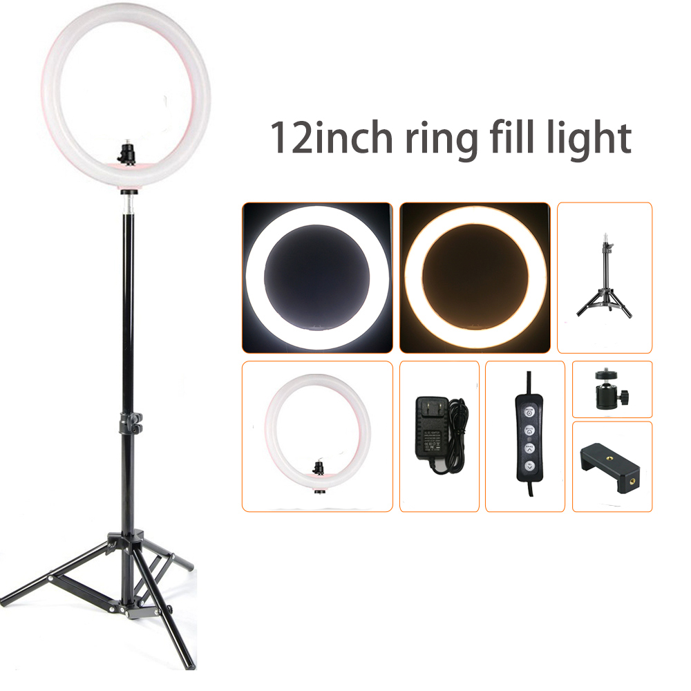 3 Colors Dimmable ring light 12 24w 180pcs led beads photography ringlight lamp for makeup Live