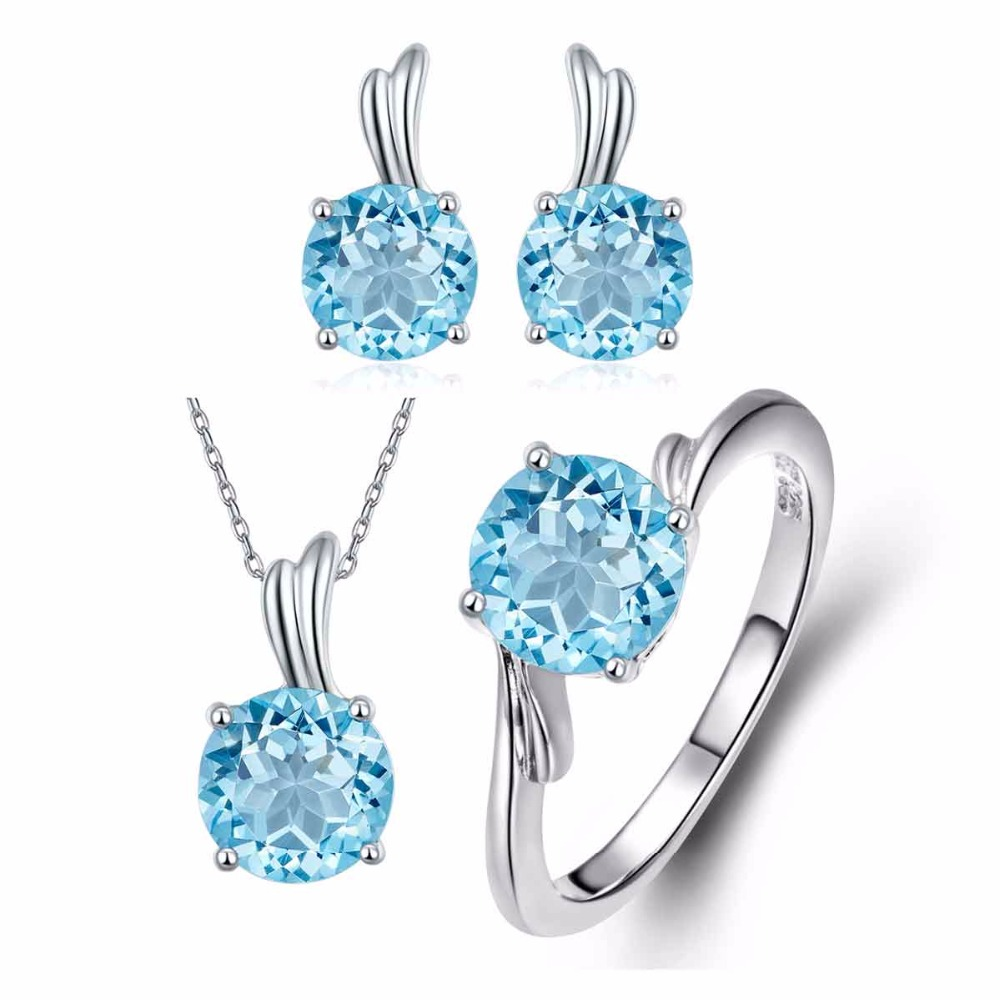 Genuine Jewelry Sets Sky Blue Topaz Solid 925 Sterling Silver Wing Ring Pendant Earrings Natural Fine