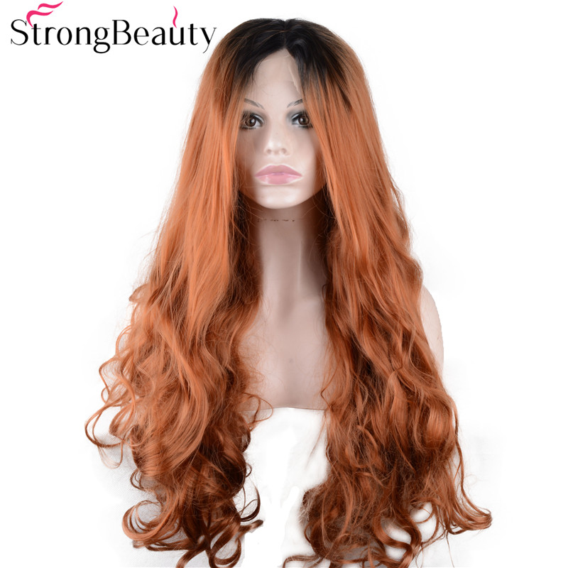Strongbeauty Long Body Wave Strawberry Blonde Wig Synthetic Ombre Black to Copper Lace Front Wig