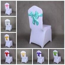 16 цветов ленты для свадебных стульев ленты из спандекса на стулья лайкра растягивающаяся лента галстук-бабочка вечерние украшения отеля шоу