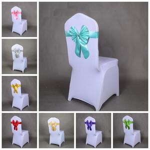 16 Colours wedding chair sashes spandex chair sashes lycra stretch band bow tie butterfly party hotel show decoration
