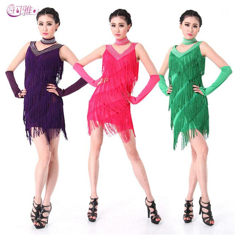Bling Fashion Sequin Fringe Latin Dress Women Charleston Flapper Great Gatsby Stage Dancing Clothes Latin Dresses Dance Costumes