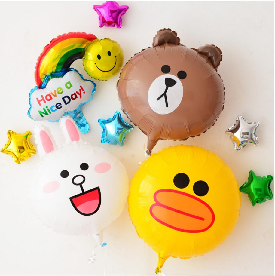 3pcs/lot Minnie rabbit Brown bear Sally chicken cartoon birthday balloon I party party for children's day decoration Foil balls