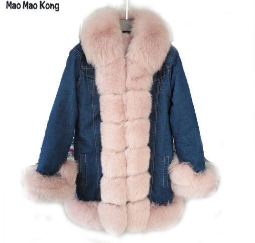 Maomaokong 2018 Новая женская джинсовая куртка натуральный Лисий пальто с  мехом теплые из искусственного меха Толстая зимняя куртка купить на  AliExpress 9d806bb9cb1